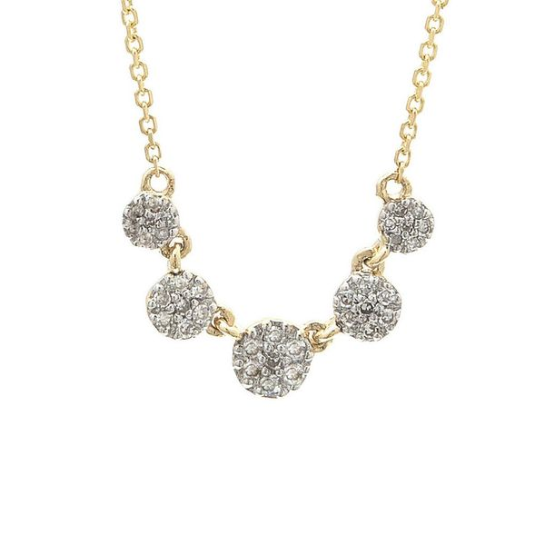 14K Yellow Gold Diamond Disc Necklace