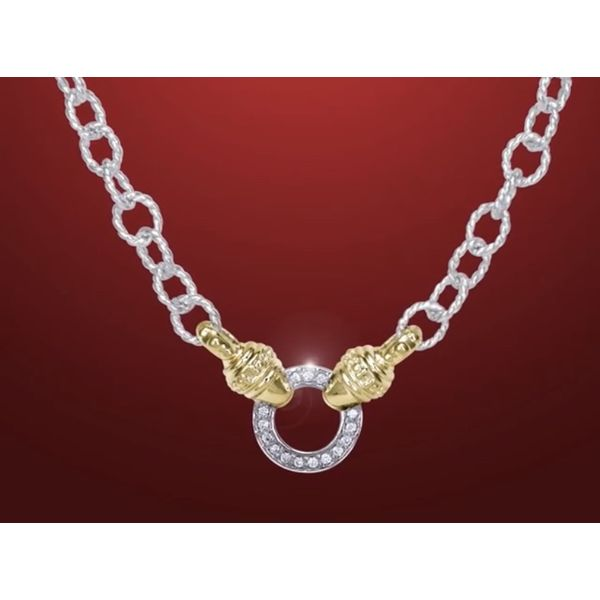 Sterling Silver &14kt Gold Diamond Necklace Image 2 Parris Jewelers Hattiesburg, MS