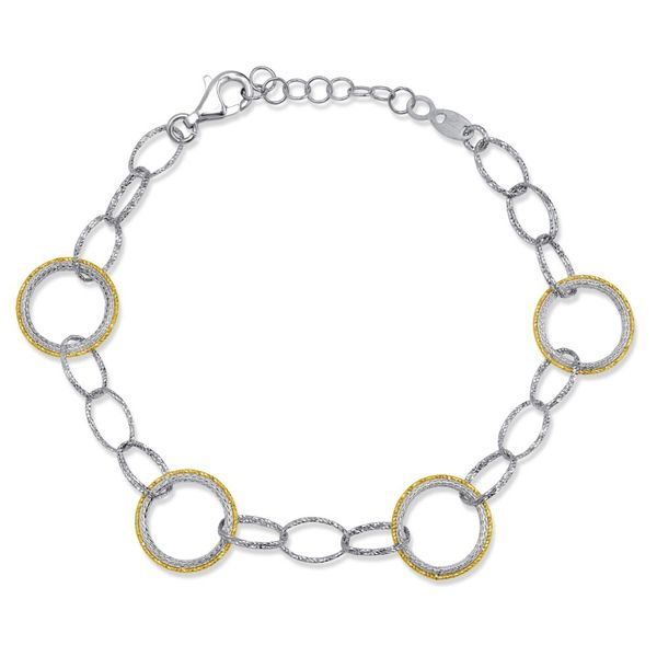 Sterling Silver Two Tone Plated Link Bracelet