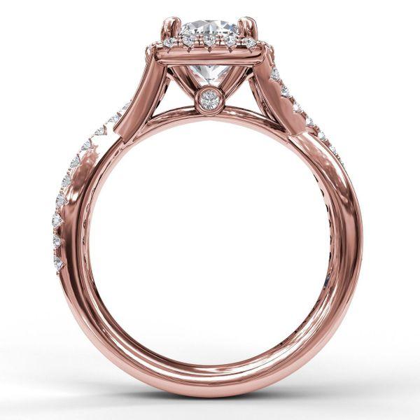 14 kt Rose Gold Halo Twist Band Engagement Ring