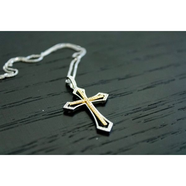 14 kt Two-Tone Cross Pendant/Necklace