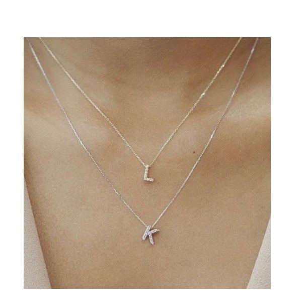 Diamond initial necklace