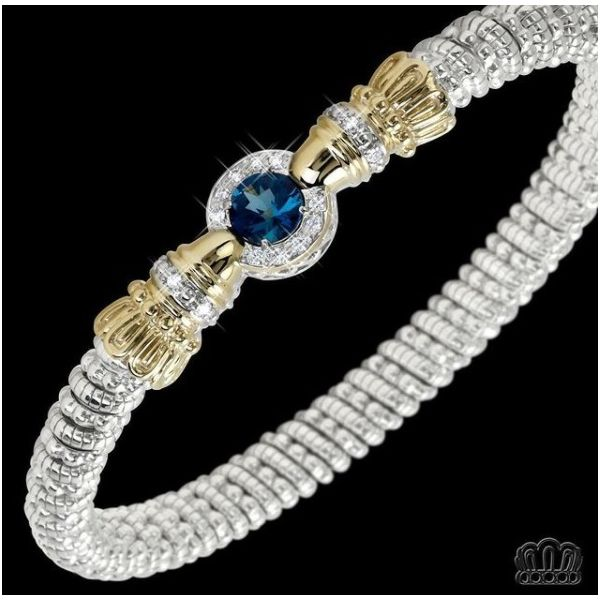 Sterling Silver and 14k Gold with London Blue Topaz and Diamonds  Image 2 Parris Jewelers Hattiesburg, MS