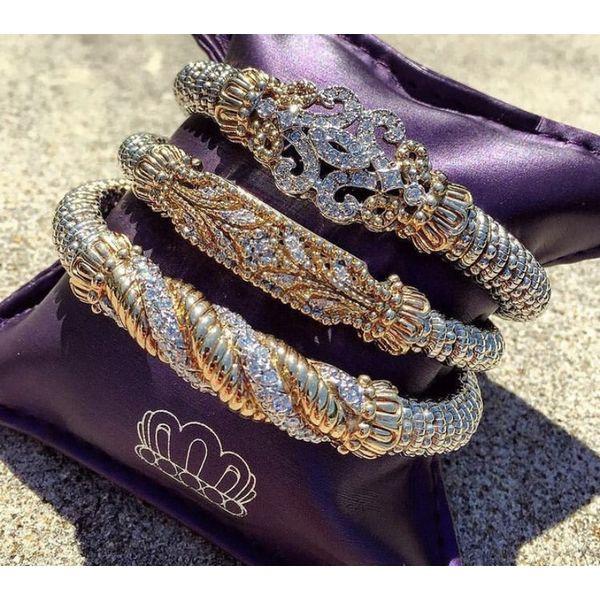 Sterling Silver &14kt Gold Diamond Bracelet Image 2 Parris Jewelers Hattiesburg, MS