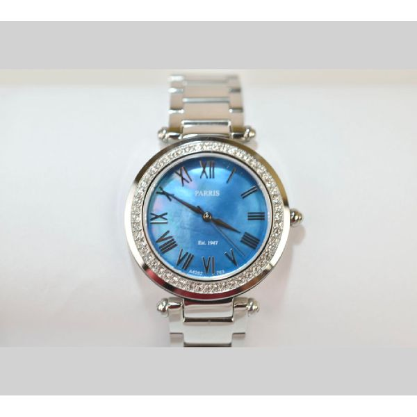 Ladies stainless steel watch with blue dial