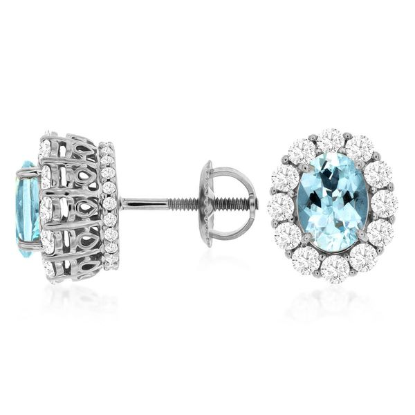 14 kt White Gold Aquamarine and Diamond  Studs
