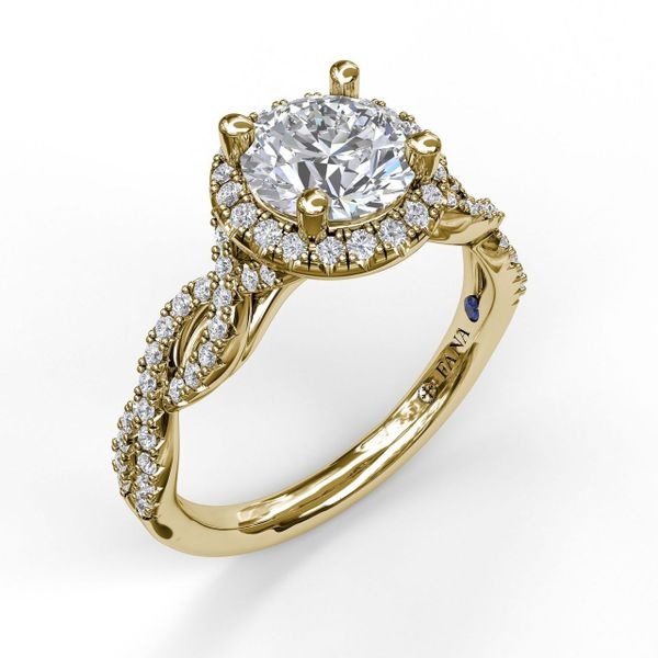 Yellow Gold Round Halo Twist Engagement Ring