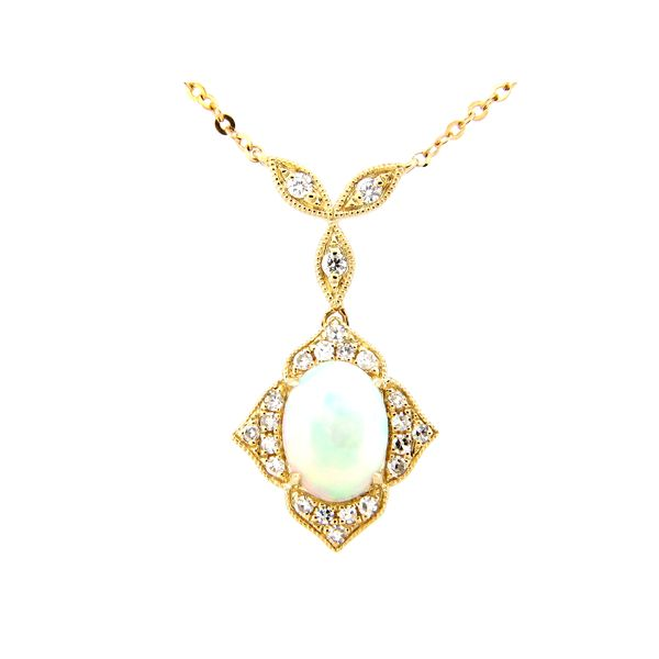 14 kt Yellow Gold Opal and Diamond Necklace