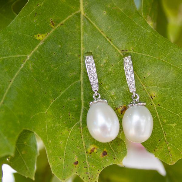 Pearls and Diamond Dangle Earrings  Image 2 Parris Jewelers Hattiesburg, MS