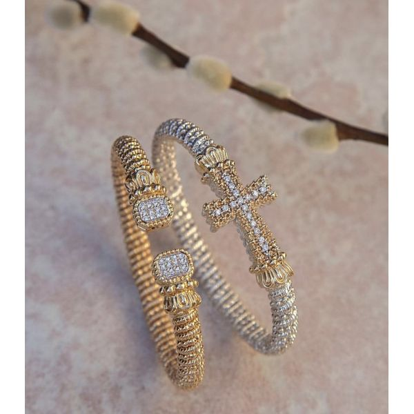 Sterling Silver and 14 kt Yellow Gold Diamond Cross Bracelet by Alwand Vahan Image 2 Parris Jewelers Hattiesburg, MS