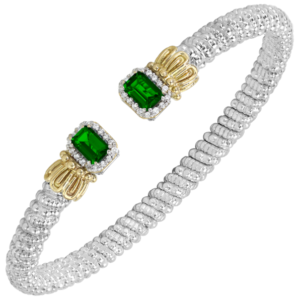 Sterling Silver and 14 kt Yellow Gold Chrome Diopside and Diamond Bracelet by Vahan