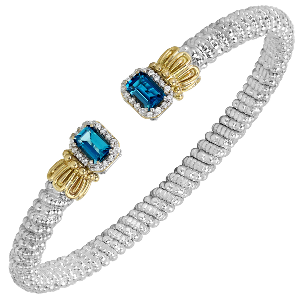 Sterling silver and 14 kt yellow gold bracelet with gemstone and diamonds by Vahan