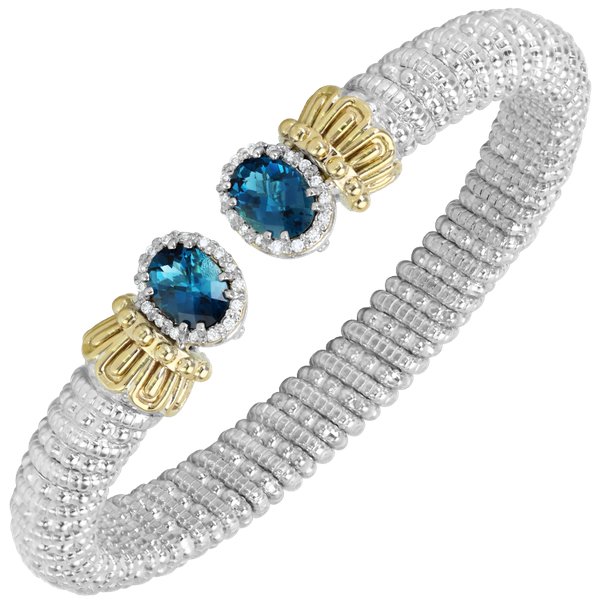 14 kt Yellow Gold and Sterling Silver London Blue Topaz Alwand Vahan Bracelet