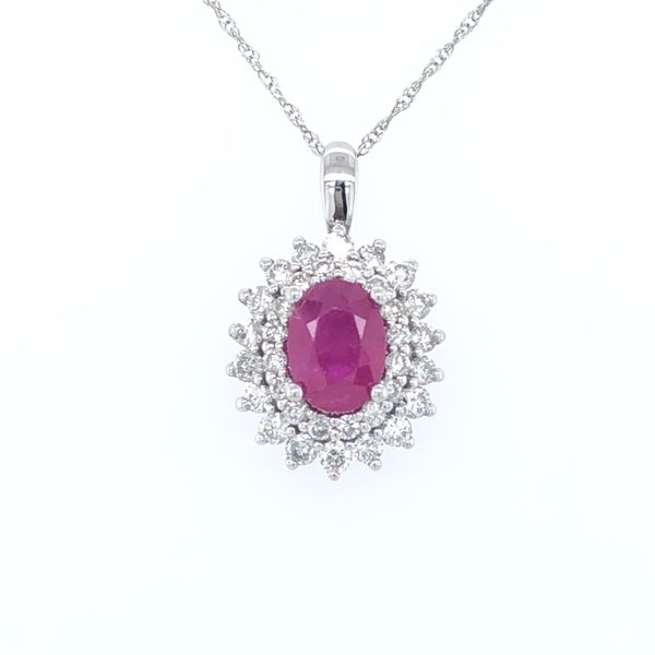 10 kt White Gold Ruby and Diamond Necklace