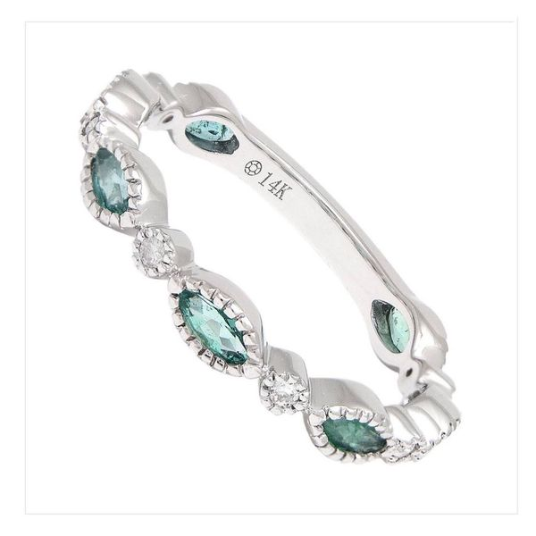 14 kt White Gold and Marquise Shaped Emerald and Diamond Band