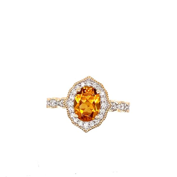 14 kt Yellow Gold Citrine and Diamond Ring