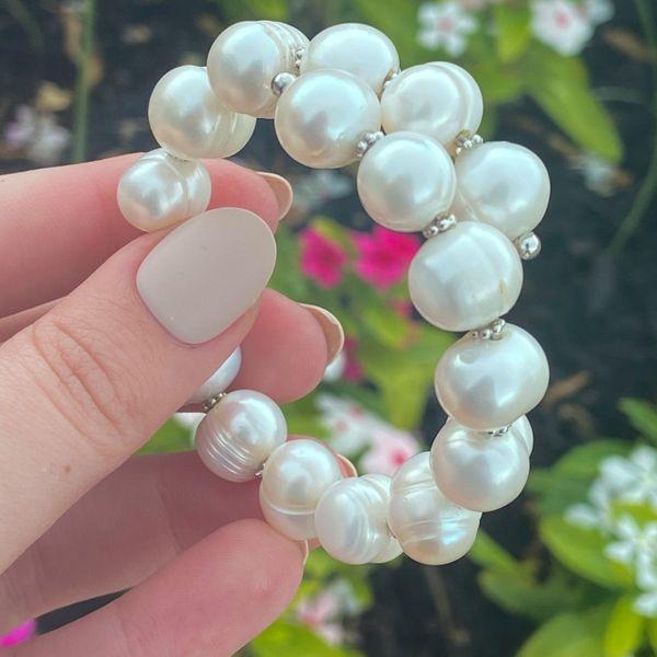 Sterling Silver Flexible Pearl Bracelet  Image 2 Parris Jewelers Hattiesburg, MS