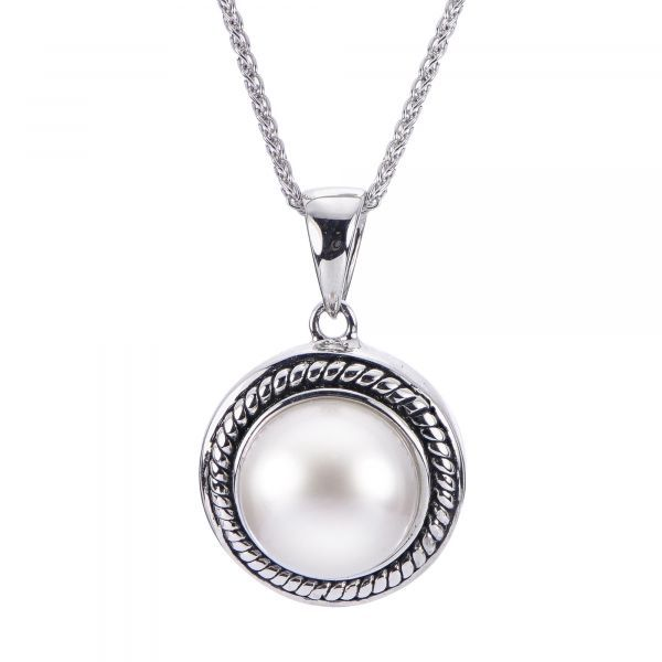 Sterling Silver Freshwater Pearl Button Earrings  Image 2 Parris Jewelers Hattiesburg, MS