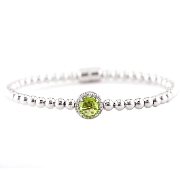 Sterling Silver Peridot and Diamond Bracelet
