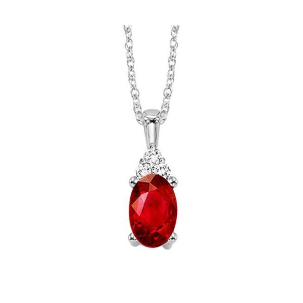 10 kt White Gold Garnet and Diamond Necklace