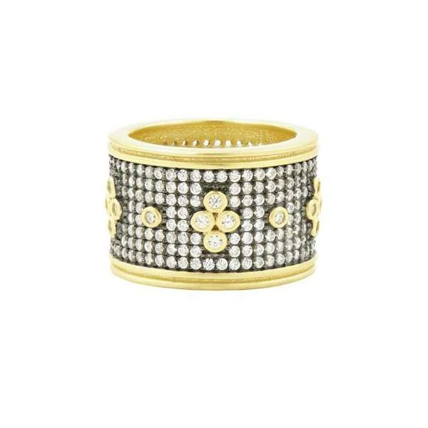 14K Gold Plated Pave' Clover Band