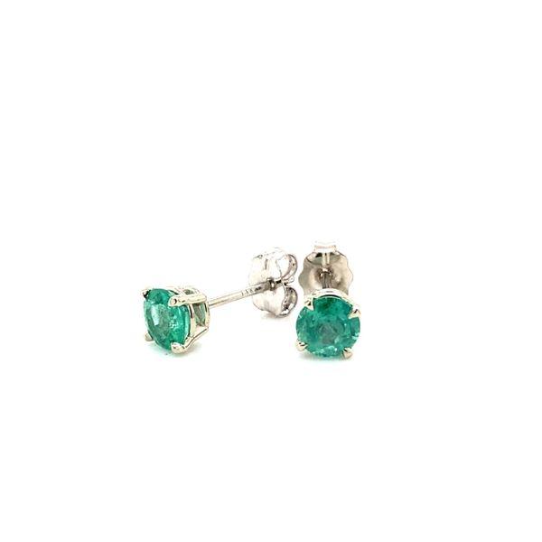14 kt White Gold Emerald Stud Earring