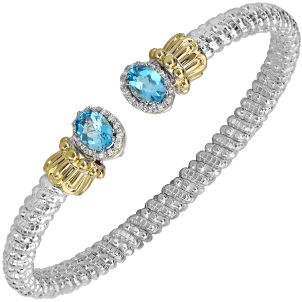Sterling silver and 14 kt yellow gold bracelet with diamonds and colored gemstone  by Vahan