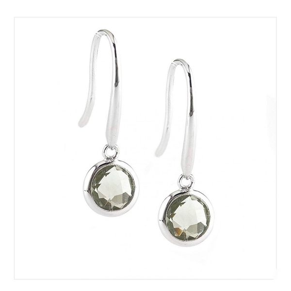 Sterling Silver Round Bezel Green Amethyst Earrings