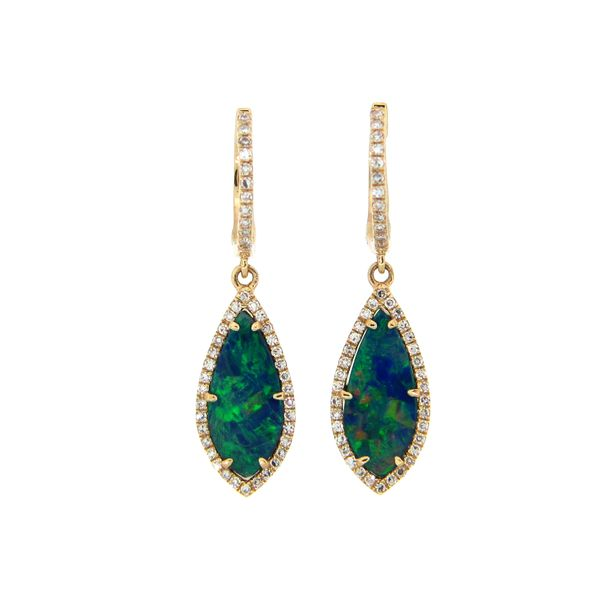 Black Opal & Diamond Earrings Parris Jewelers Hattiesburg, MS