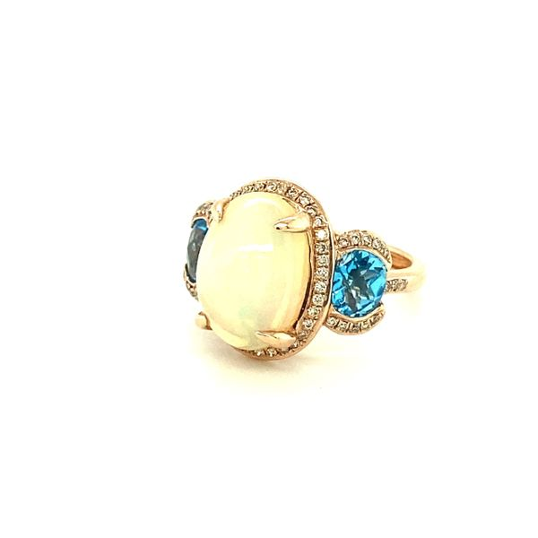 14K Rose Gold and Blue Topaz Ring