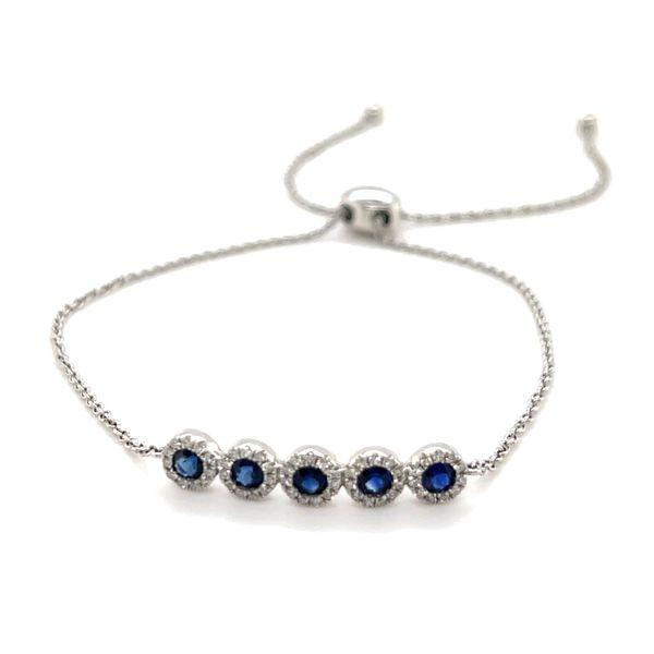 14K White Gold Sapphire Bolo Bracelet