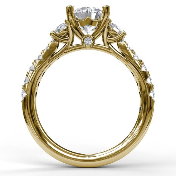 Yellow Gold Three Stone With Pave Engagement Ring