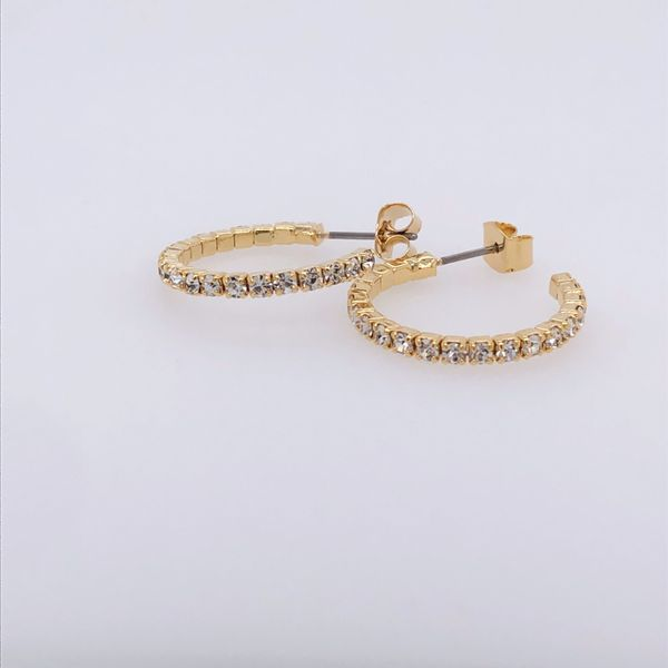 20  mm White Rhodium Plated Yellow Hoop Earrings w Crystals