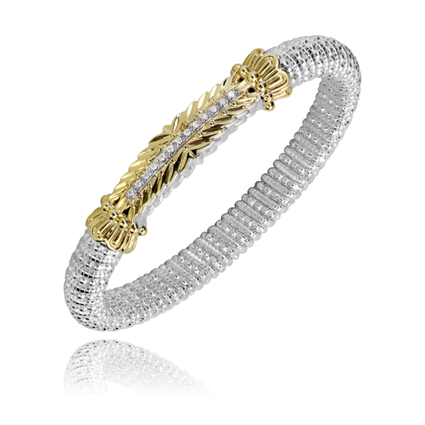 Sterling silver and 14 kt yellow gold with diamonds 8 mm Vahan bracelet