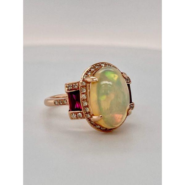14K Rose gold opal and rhodolite garnet ring