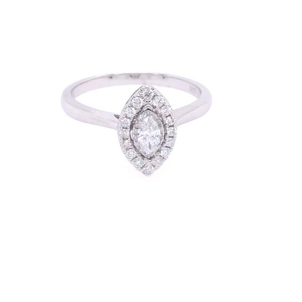 14 kt White Gold Marquise-Shaped Engagement Ring