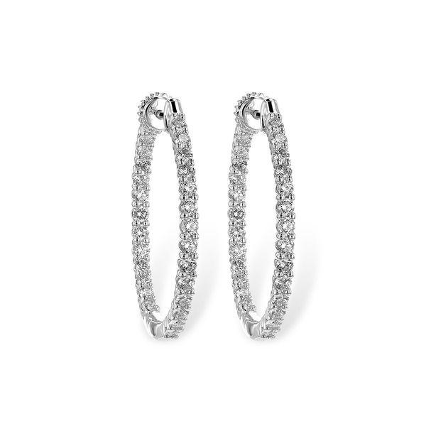 14 kt White Gold Diamond Hoop Earrings