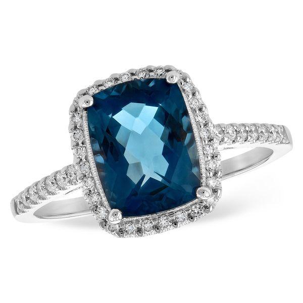 14 kt White Gold London Blue Topaz and Diamond Ring