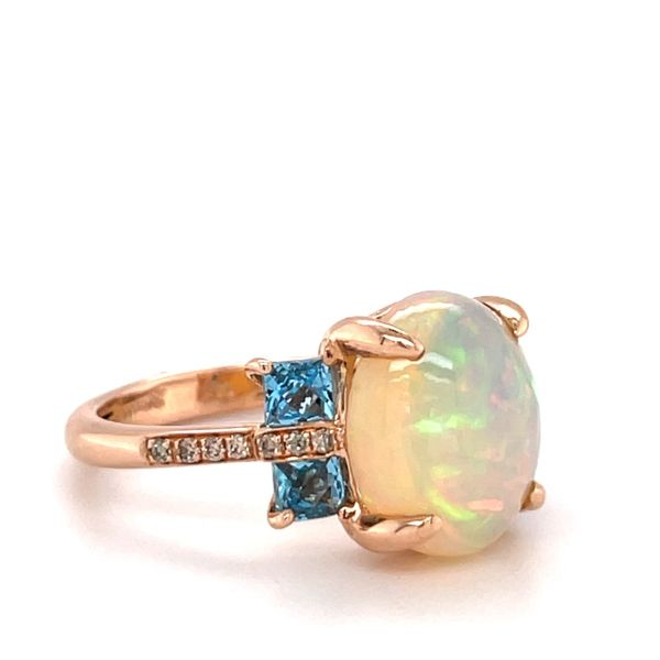 14 kt Rose Gold Opal and Blue Topaz Ring