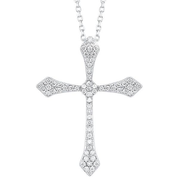 14 kt White Gold Diamond Cross Necklace