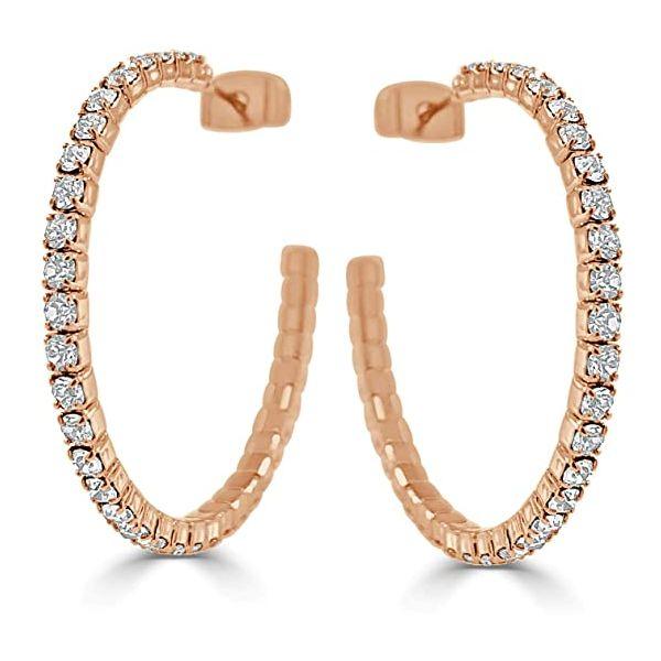 50  mm White Rhodium Plated Rose Hoop Earrings w Crystals