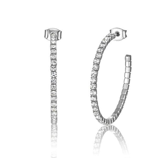 White Crystal Hoop Earrings