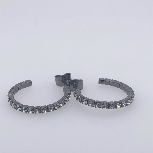 Black  Crystal Hoop Earrings