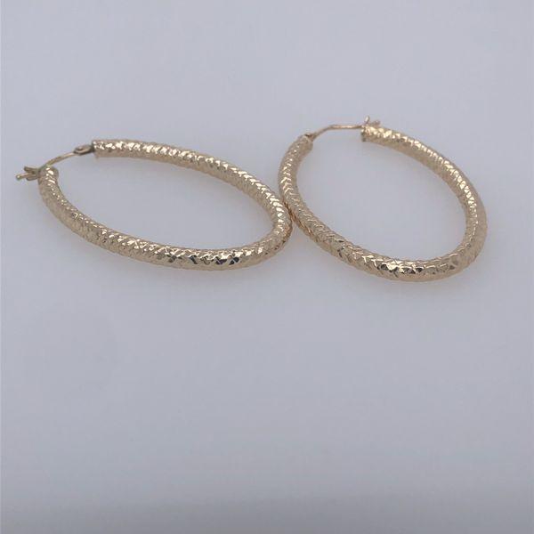 Yellow  Gold Textured Oval Dangle Hoop Earrings