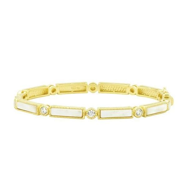 14K Gold Plated Hinge Mother of Pearl Bangle