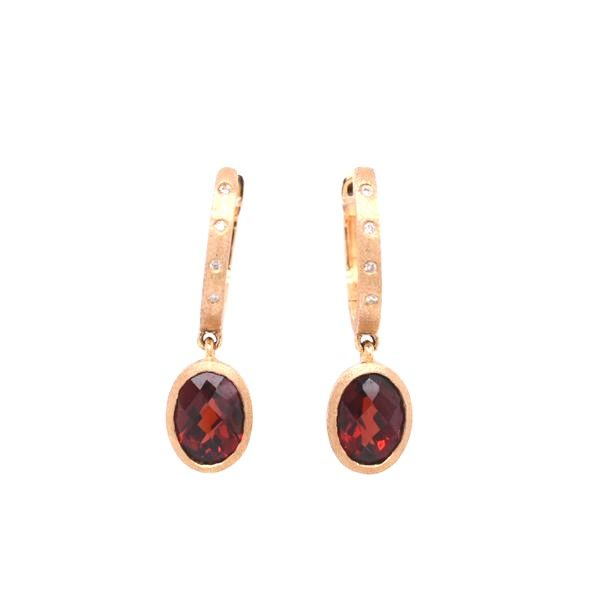 14 kt Yellow Gold Satin Finished Garnet and Diamond Earrings