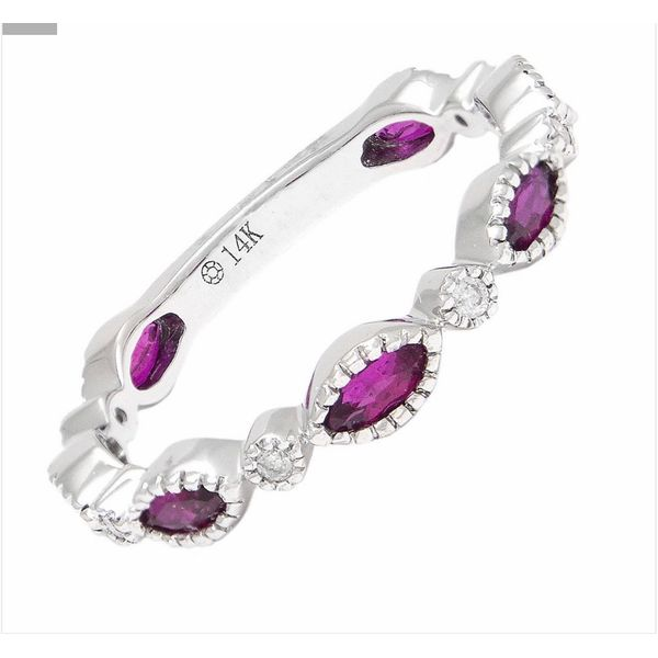 14 kt White Gold Ruby and Diamond Stackable Ring