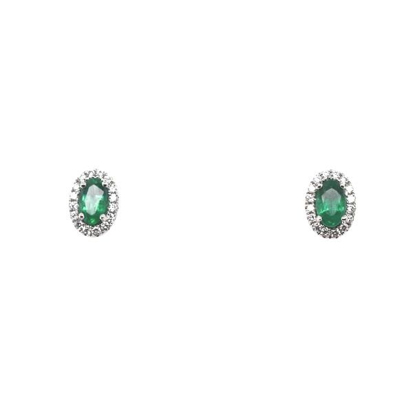 14 kt White Gold Emerald and Diamond earrings