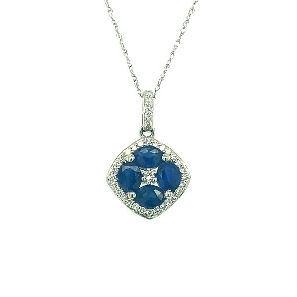 14 kt White Gold Sapphire Necklace with Diamond Accents