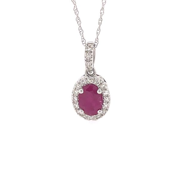 14 kt White Gold Oval Ruby and Diamond Necklace